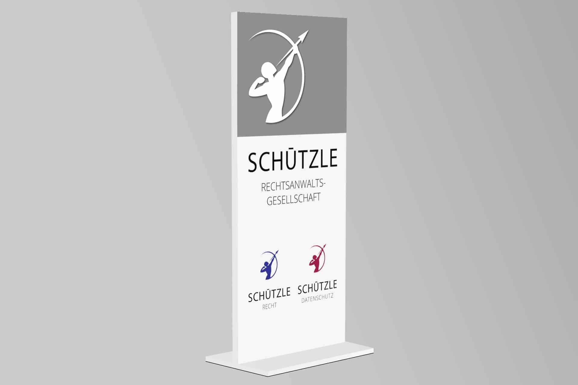 Firmenschild für das Rechtsanwaltsbüro Schützle in Heilbronn