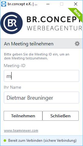 Vorschaubild für die Verbindung zu einem Teamviewer-Meeting