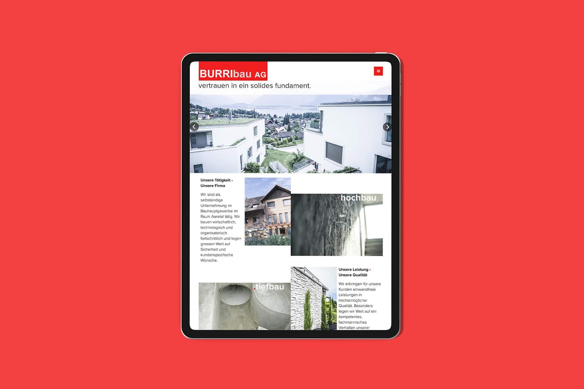 Website Redesign BurriBau Schweiz