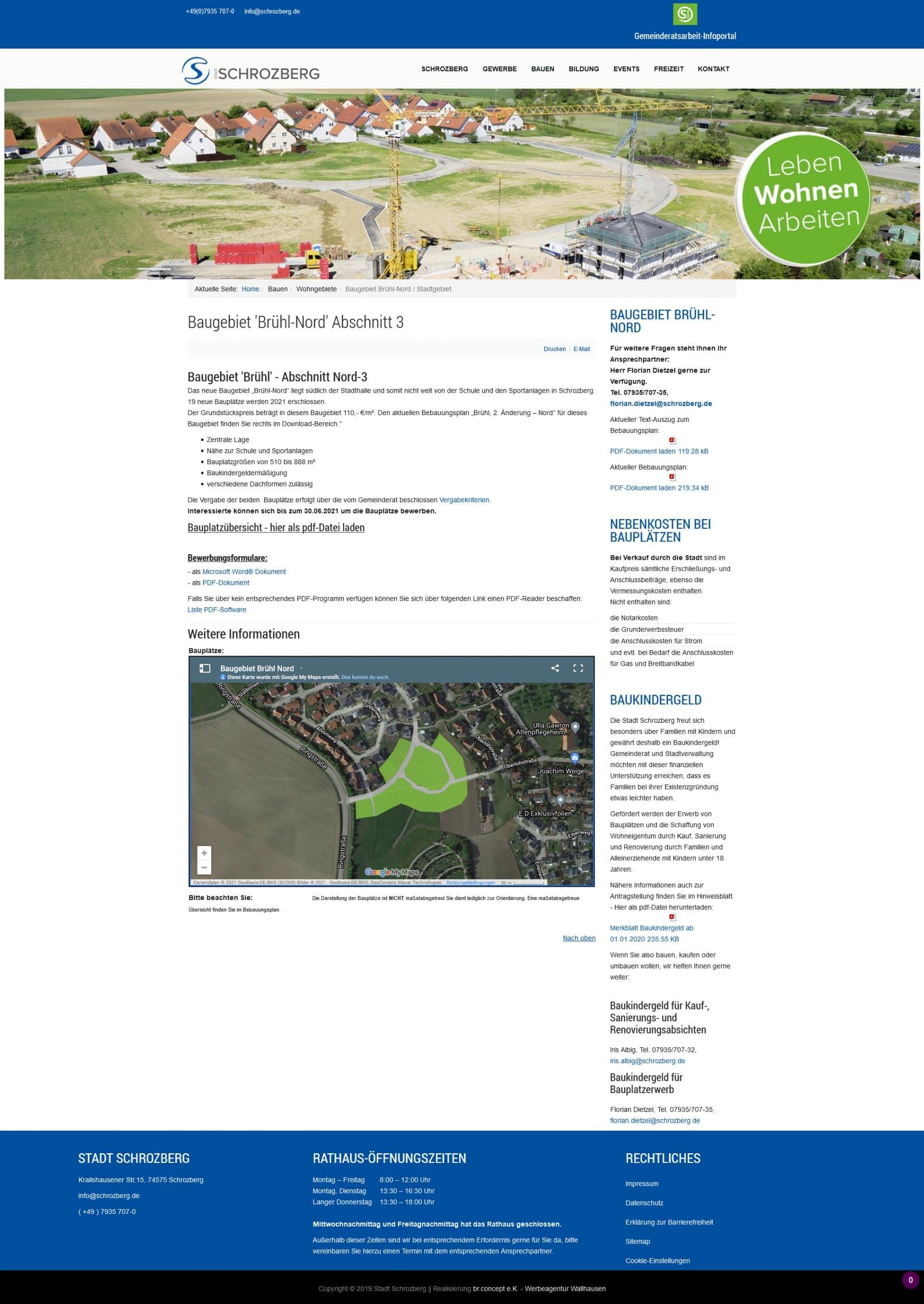 Startseite der Website der Stadt Schrozberg