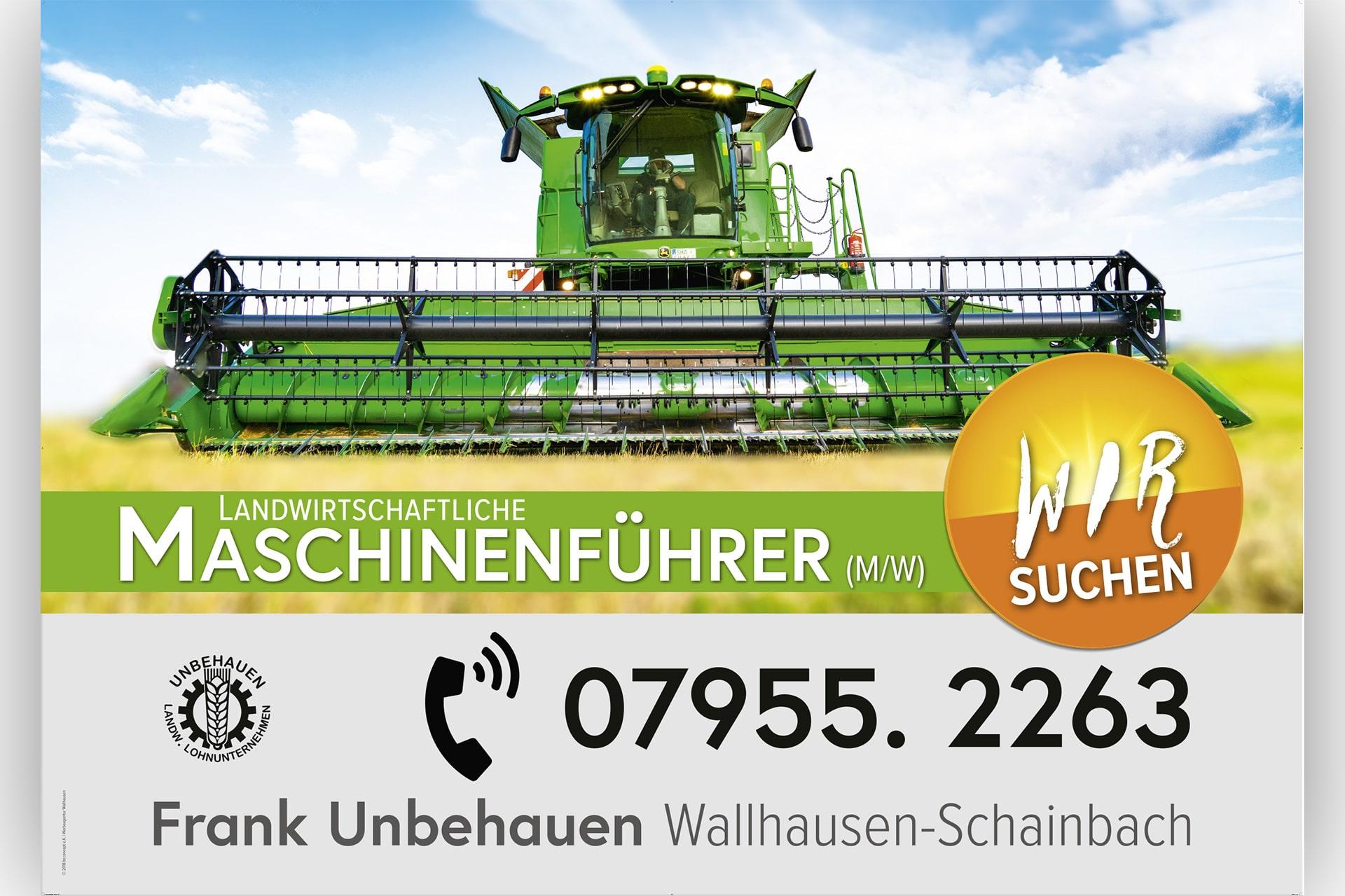 Großflächenwerbung für das landwirtschaftliche Lohnunternehmen Unbehauen in Wallhausen/Schainbach