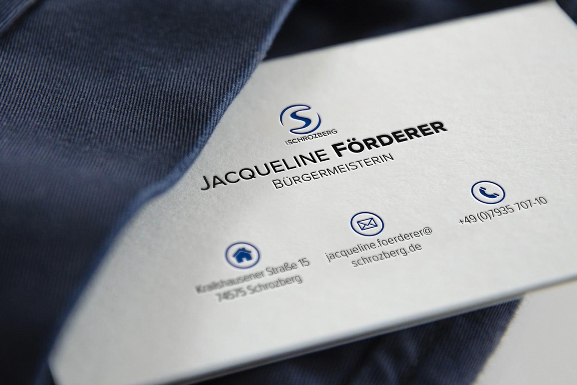 Visitenkarte Jacqueline Förderer - Bürgermeisterin Stadt Schrozberg
