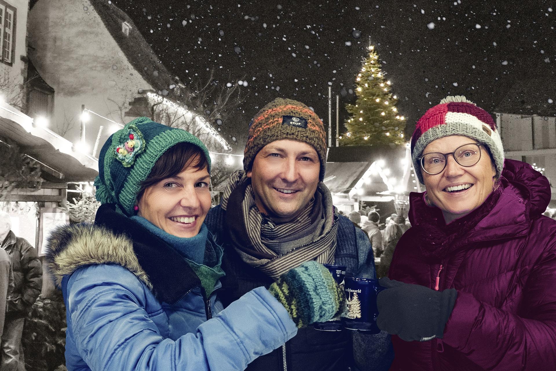Fotoshooting für Weihnachtsmarkt-Kampagne der Stadt Schrozberg