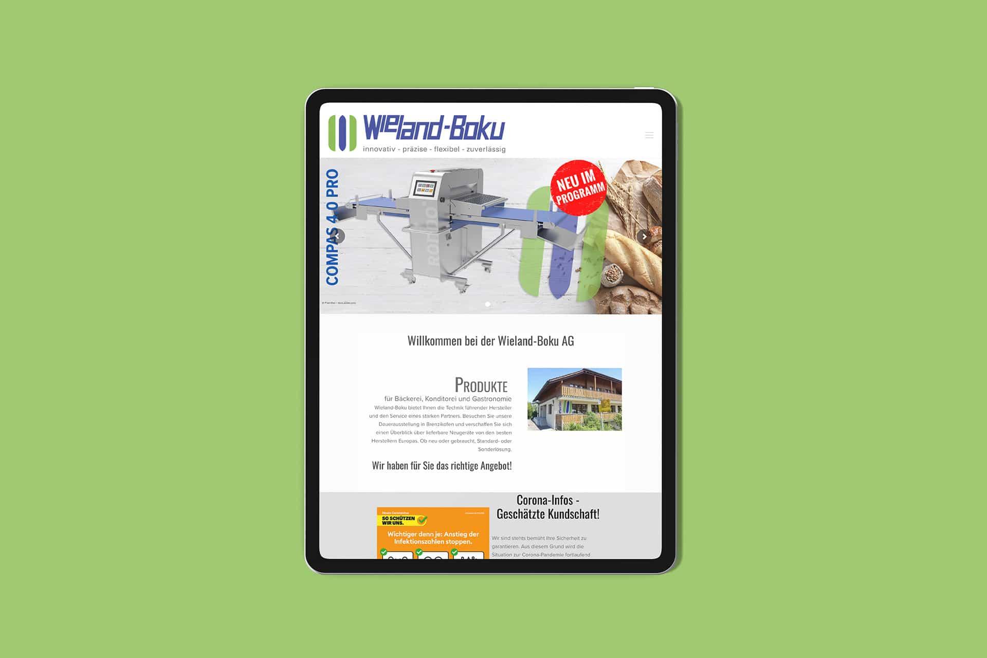 Internetseite der Wieland-Boku AG in der Schweiz