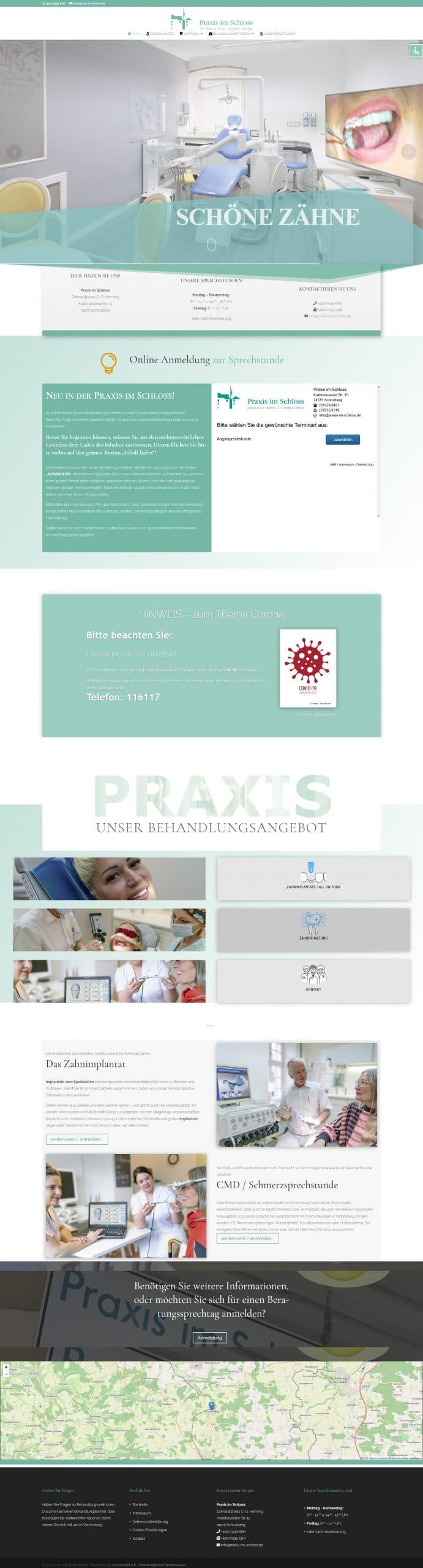 Startseite der Website der Praxis im Schloss in Schrozberg