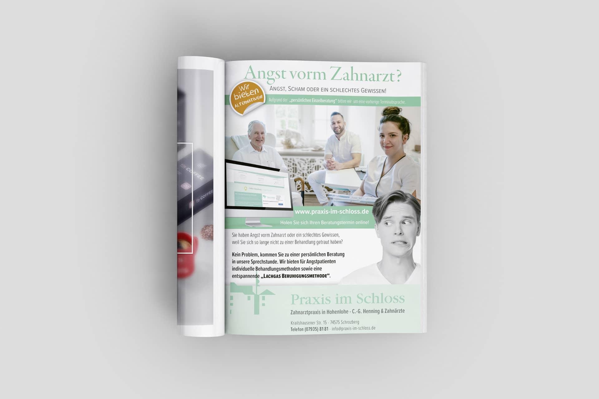 Anzeige für die Zahnarzt-Praxis im Schloss in Schrozberg